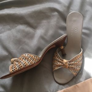 COLE HAAN Gorgeous Kitten Heel Slides sz 5-1/2 B